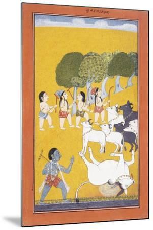 The Young Krishna Kills the Demon Vatsasura--Mounted Giclee Print
