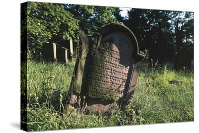 Tombstone in Jewish Cemetery (Judenfriedhof) of Worms--Stretched Canvas Print