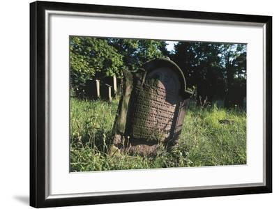 Tombstone in Jewish Cemetery (Judenfriedhof) of Worms--Framed Photographic Print