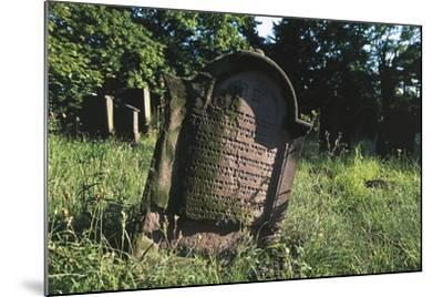 Tombstone in Jewish Cemetery (Judenfriedhof) of Worms--Mounted Photographic Print