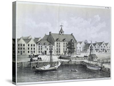 The Stadthuys of New York in 1679--Stretched Canvas Print