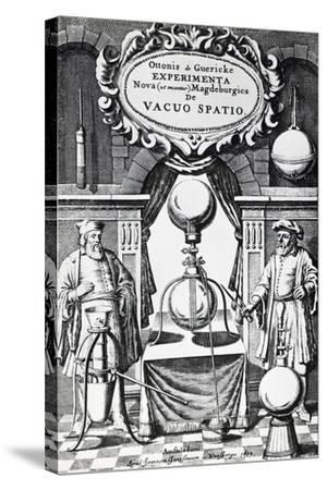 Vacuum Creation Pump on Title Page of Experimenta Nova (Ut Vocantur) Magdeburgica De Vacuo Spatio--Stretched Canvas Print