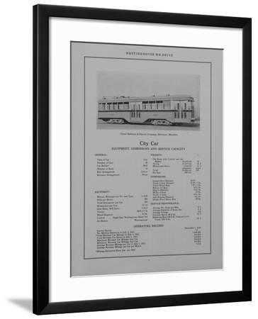 Westinghouse Electric and Manufacturing Company's City Car Belonging to the United Railways and Ele--Framed Giclee Print