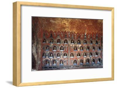 Wood Panel with Niches Containing Statues of Buddha--Framed Giclee Print