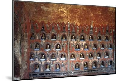 Wood Panel with Niches Containing Statues of Buddha--Mounted Giclee Print