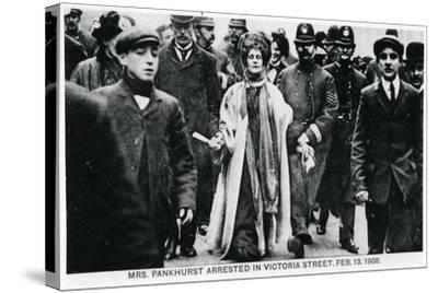 Arrest of Mrs Emmeline Pankhurst in Victoria Street, 13th February 1908--Stretched Canvas Print