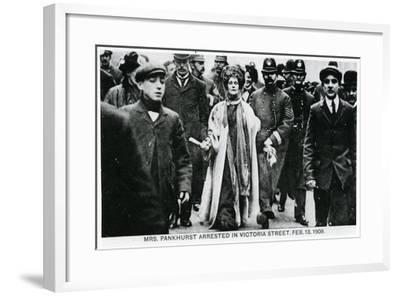 Arrest of Mrs Emmeline Pankhurst in Victoria Street, 13th February 1908--Framed Giclee Print