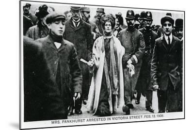 Arrest of Mrs Emmeline Pankhurst in Victoria Street, 13th February 1908--Mounted Giclee Print