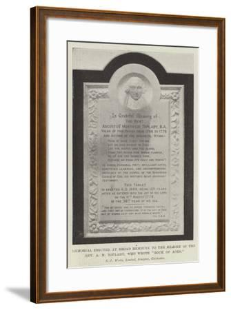 Memorial Erected at Broad Hembury to the Memory of the Reverend a M Toplady, Who Wrote Rock of Ages--Framed Giclee Print