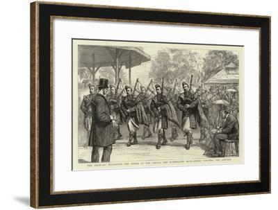 The Military Exhibition, the Pipers of the Argyle and Sutherland Highlanders Parading the Grounds--Framed Giclee Print