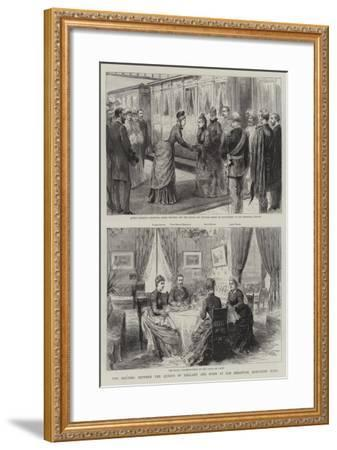 The Meeting Between the Queens of England and Spain at San Sebastian, Northern Spain--Framed Giclee Print