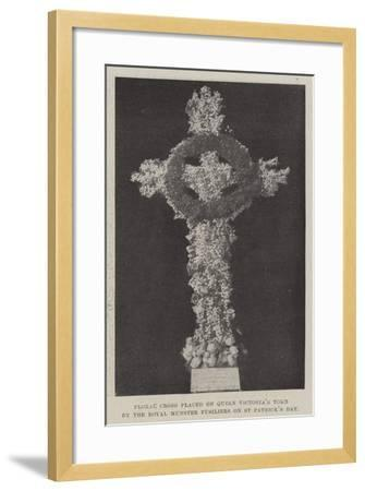 Floral Cross Placed on Queen Victoria's Tomb by the Royal Munster Fusiliers on St Patrick's Day--Framed Giclee Print