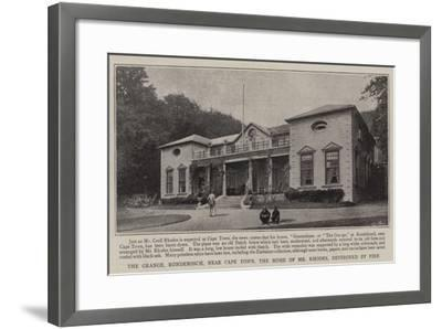 The Grange, Rondebosch, Near Cape Town, the Home of Mr Rhodes, Destroyed by Fire--Framed Giclee Print