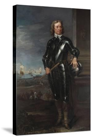 Portrait of Oliver Cromwell (1599-1658) in Armour, a Seascape and Battle Beyond, Late 1650S--Stretched Canvas Print