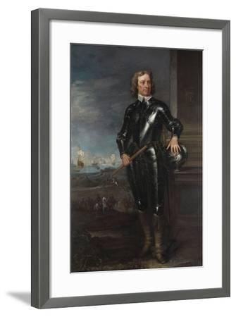 Portrait of Oliver Cromwell (1599-1658) in Armour, a Seascape and Battle Beyond, Late 1650S--Framed Giclee Print