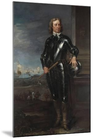 Portrait of Oliver Cromwell (1599-1658) in Armour, a Seascape and Battle Beyond, Late 1650S--Mounted Giclee Print