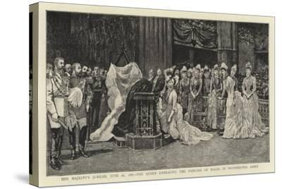 Her Majesty's Jubilee, 21 June 1887, the Queen Embracing the Princess of Wales in Westminster Abbey--Stretched Canvas Print