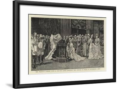 Her Majesty's Jubilee, 21 June 1887, the Queen Embracing the Princess of Wales in Westminster Abbey--Framed Giclee Print