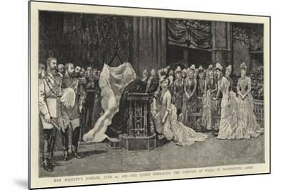 Her Majesty's Jubilee, 21 June 1887, the Queen Embracing the Princess of Wales in Westminster Abbey--Mounted Giclee Print