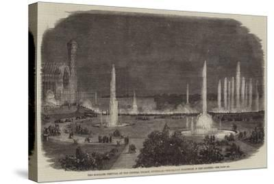 The Schiller Festival at the Crystal Palace, Sydenham, Torchlight Procession in the Grounds--Stretched Canvas Print