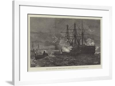 The Naval Manoeuvres, Torpedo Attack on Admiral Tryon's Squadron in Plymouth Sound--Framed Giclee Print