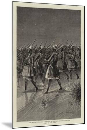 The French in Dahomey, the King of Dahomey's Amazons Crossing a Swamp on the March--Mounted Giclee Print