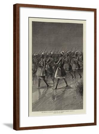 The French in Dahomey, the King of Dahomey's Amazons Crossing a Swamp on the March--Framed Giclee Print