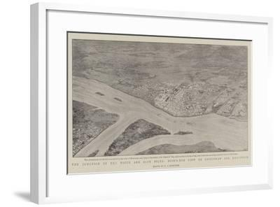 The Junction of the White and Blue Niles, Bird'S-Eye View of Omdurman and Khartoum--Framed Giclee Print