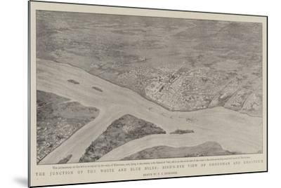 The Junction of the White and Blue Niles, Bird'S-Eye View of Omdurman and Khartoum--Mounted Giclee Print