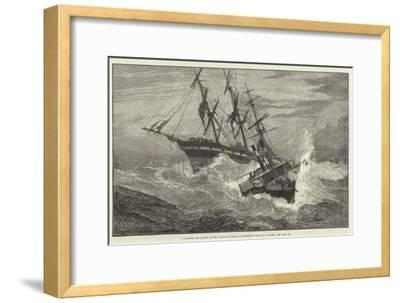 A Channel Tug Trying to Get a Rope on Board a Distressed Vessel in a Storm--Framed Giclee Print