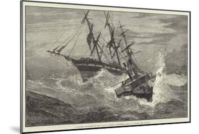 A Channel Tug Trying to Get a Rope on Board a Distressed Vessel in a Storm--Mounted Giclee Print
