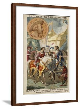 Francis I of France and Henry VIII of England Meeting at the Field of the Cloth of Gold, 1520--Framed Giclee Print