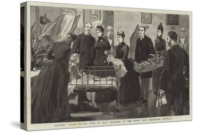 Madame Albani Giving Toys to Sick Children at the Jenny Lind Infirmary, Norwich--Stretched Canvas Print