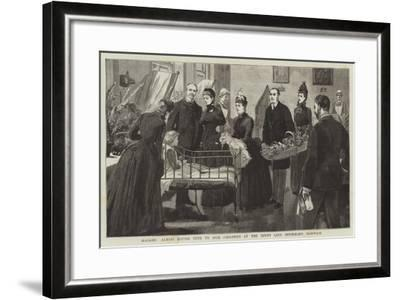 Madame Albani Giving Toys to Sick Children at the Jenny Lind Infirmary, Norwich--Framed Giclee Print