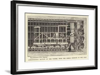 Longitudinal Section of the Tunnel with the Shield Working in Wet Clay--Framed Giclee Print