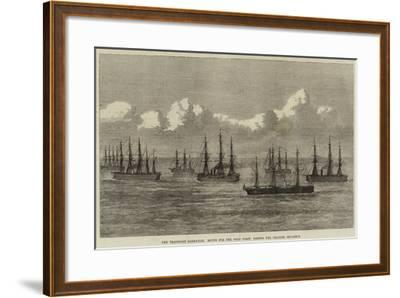 The Transport Sarmatian, Bound for the Gold Coast, Passing the Channel Squadron--Framed Giclee Print