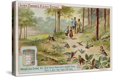 Hansel and Gretel: Birds Eating the Trail of Breadcrumbs Left by Hansel to Find the Way Home--Stretched Canvas Print