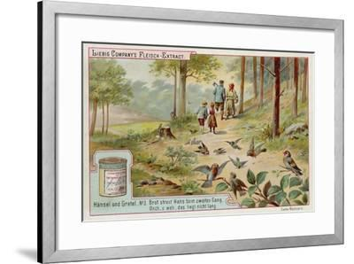 Hansel and Gretel: Birds Eating the Trail of Breadcrumbs Left by Hansel to Find the Way Home--Framed Giclee Print