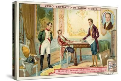Napoleon Negotiating a Loan with French Banker Gabriel-Julien Ouvrard, 1815--Stretched Canvas Print