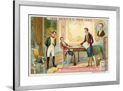 Napoleon Negotiating a Loan with French Banker Gabriel-Julien Ouvrard, 1815--Framed Giclee Print