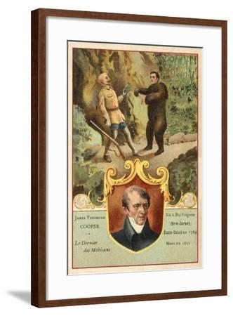 James Fenimore Cooper, American Novelist, and a Scene from Last of the Mohicans--Framed Giclee Print