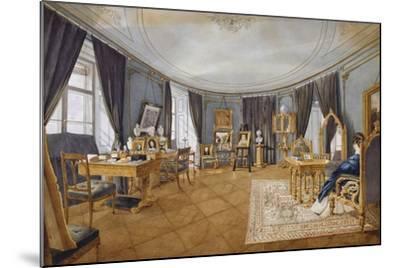 Biedermeier Style Blue Circular Hall, Circa 1841, Watercolor, Austria, 19th Century--Mounted Giclee Print