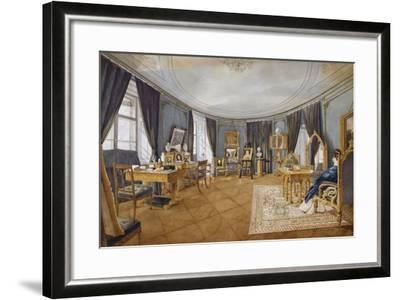 Biedermeier Style Blue Circular Hall, Circa 1841, Watercolor, Austria, 19th Century--Framed Giclee Print