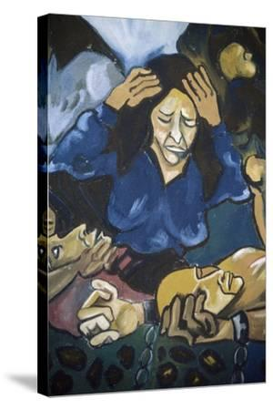 Woman Crying in Front of Men in Chains, Detail, Mural in Orgosolo, Sardinia, Italy--Stretched Canvas Print
