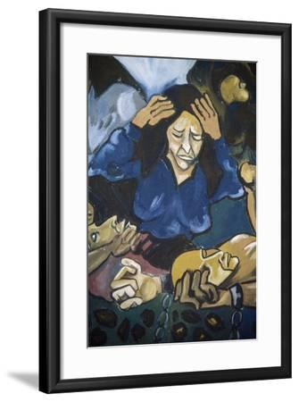 Woman Crying in Front of Men in Chains, Detail, Mural in Orgosolo, Sardinia, Italy--Framed Giclee Print