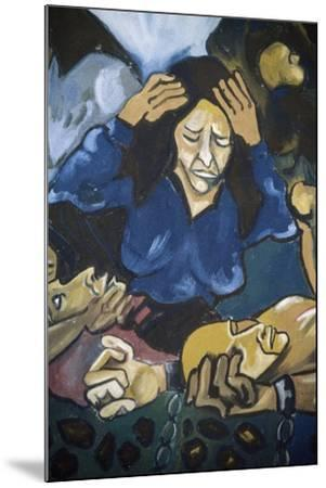 Woman Crying in Front of Men in Chains, Detail, Mural in Orgosolo, Sardinia, Italy--Mounted Giclee Print