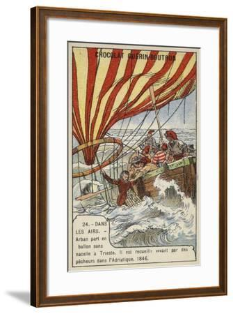Arban Rescued by Fishermen after His Balloon Crashed in the Adriatic, 1846--Framed Giclee Print