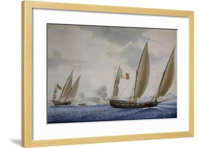 Xebec Conception in Combat with Xebec Le Volcan, 1804, Watercolor by Nicolas Cammillieri--Framed Giclee Print