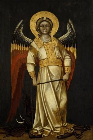 Angel with Demon on Chain by Guariento (Active 1338-1367 or 1370), Tempera on Panel, Circa 1354--Framed Giclee Print