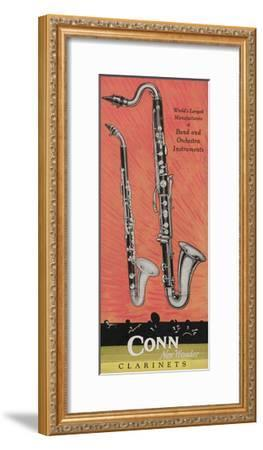 A Charles Gerard Conn Giant Boehm Alto 40-N Clarinet and Giant Boehm Bass 50-N Clarinet--Framed Giclee Print